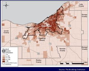 Map showing share of persons living in poverty in Cleveland, 2000.