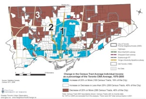 Map 1: Change in average individual income, City of Toronto, Relative to the Toronto CMA, 1970-2005.[10]